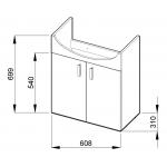 Jika LYRA PACK 4.5196.1.432.300.1 Skříňka s 2 dveřmi včetně umyvadla 65 cm