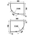 Jika TIGO H2512110026681 Sprchový kout asymetrický 98 × 78 cm, transparent