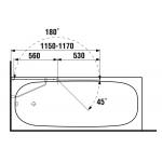 2.5742.6.002.668.1 CUBITO Vanová zástěna dvojdílná 115 x 140 cm P, transparent