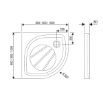 RAVAK ELIPSO PRO 80 Sprchová vanička čtvrtkruhová 80 cm - bílá
