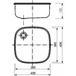 500-U Norma Dřez nerezový čtvercový š. 380 mm, hl. 380 mm