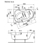 MELITÉ 160×105 L Vagnerplast Vana asymetrická s podporou