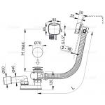 A564CRM1 80 Vanový odtokový komplet snapouštěním přepadem chrom