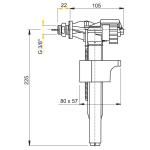 A16P 3/8˝ AlcaPlast Napouštěcí ventil boční kovový závit