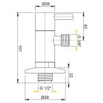 ARV001 AlcaPlast Rohový ventil 1/2˝×3/8˝ s filtrem