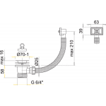 A331 AlcaPlast Dřezová výpusť 6/4˝ s nerezovou mřížkou pr.70mm,flexi přepadem