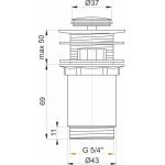 A391 AlcaPlast Umyvadlová výpusť click/clack 5/4˝ kovová malá zátka
