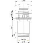 A392 AlcaPlast Umyvadlová výpusť click/clack 5/4˝ kovová velká zátka