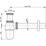 A431 AlcaPlast Sifon pro umyvadlo kovový s převlečnou maticí 5/4˝