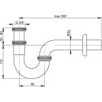 A432 AlcaPlast Sifon pro umyvadlo kovový U spřevlečnou maticí 5/4˝