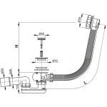 A55K100 Vanový odtokový komplet s ovládáním kov chrom, délka 100 cm