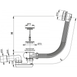 A55KM100 Vanový odtokový komplet s ovládáním kov chrom, délka 100 cm