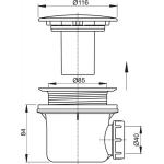 A49CR AlcaPlast Sifon vaničkový chrom pr.90mm