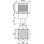 APV2 Podlahová vpusť nerezová přímá 105×105/50