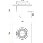 APV3 AlcaPlast Podlahová vpusť šedá boční150×150/50