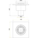 APV4 AlcaPlast Podlahová vpusť šedá přímá 150×150/50