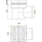 APV10 AlcaPlast Podlahová vpusť šedá boční150×150/110