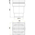 APV13 AlcaPlast Podlahová vpusť přímá nerez 150×150/110