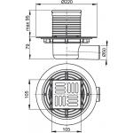 APV101 AlcaPlast Podlahová vpusť boční mosaz-chrom 105×105/50