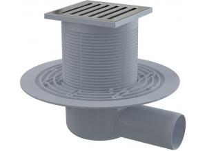 APV103 AlcaPlast Podlahová vpusť boční mosaz-chrom 105×105/50