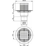 APV203 AlcaPlast Podlahová vpusť přímá mosaz-chrom 105×105/50
