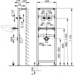 A104A/1200 Montážní rám pro umyvadlo svyvedením baterie ze zdi AlcaPlast