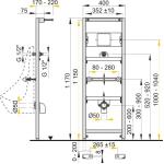 A107S/1200 AlcaPlast Montážní rám pro pisoár