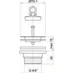 A33 AlcaPlast Dřezová výpusť 6/4˝ s nerezovou mřížkou pr.70mm