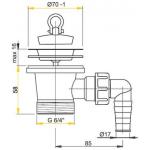 A33P AlcaPlast Dřezová výpusť 6/4˝ s nerezovou mřížkou pr.70mm apřípojkou