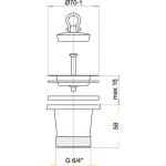 A34 AlcaPlast Dřezová výpusť zvýšená 6/4˝ snerezovou mřížkou pr. 70 mm