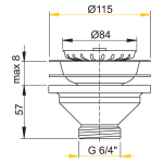 A37 AlcaPlast Dřezová výpusť 6/4˝ s nerezovou mřížkou pr.115mm