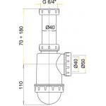 A443 Sifon dřezový s převlečnou maticí 6/4˝