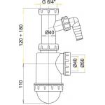 A443P Sifon dřezový s převlečnou maticí 6/4˝apřípojkou
