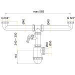 A448P Sifon pro dvoudřez s převl. maticemi 6/4˝a přípojkou