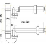 A80/40 Sifon trubkový s převlečnou maticí 6/4˝