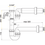 A81/50 Sifon trubkový s převlečnou maticí 6/4˝apřípojkou