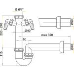A82/40 Sifon trubkový s převlečnou maticí 6/4˝advěma přípojkami