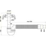 A84 Sifon trubkový s maticí 6/4˝, dvěpřípojky, flexi hadice