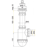 A441 AlcaPlast Sifon dřezový s nerezovou mřížkou pr.70mm