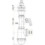 A442P Sifon dřezový s plastovou mřížkou pr.70mm apřípojkou