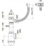 A444 Sifon dřezový s nerezovou mřížkou pr.70mm aflexi přepadem