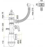 A444P Alcaplast Sifon dřezový s nerez. mřížkou pr.70mm, flexi přepad a přípojka