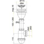 A446 Sifon dřezový s nerezovou mřížkou pr.115mm