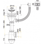 A447 Sifon dřezový s nerezovou mřížkou pr.115mm aflexi přepadem