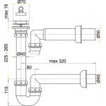 A800/50 Sifon trubkový s nerezovou mřížkou pr.70mm