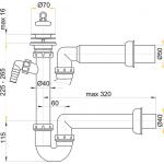 A810/50 Sifon trubkový s nerezovou mřížkou pr.70mm apřípojkou