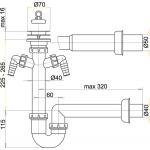 A820/50 Sifon trubkový s nerezovou mřížkou pr.70mm advěma přípojkami