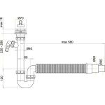A830 Sifon trubkový s nerezovou mřížkou pr.70mm, flexi hadice, přípoj