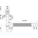 A840 Sifon trubkový s nerezovou mřížkou pr.70mm, flexi hadice, dvě př