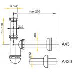 A43 AlcaPlast Sifon pro umyvadlo s převlečnou maticí 5/4˝